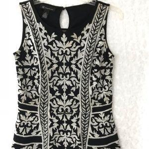 INC Women's White Black Sleeveless Top Blouse